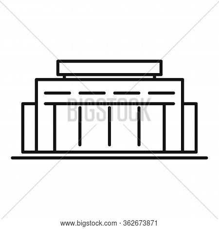 Road Exhibition Center Icon. Outline Road Exhibition Center Vector Icon For Web Design Isolated On W