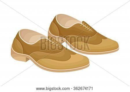 Men Leathery Shoes With Shoelace Isolated On White Background Vector Illustration