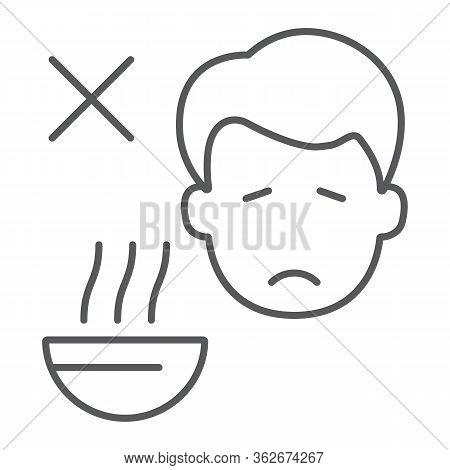 Loss Of Appetite Thin Line Icon, Diet And Covid-19, Coronavirus Symptom Sign, Vector Graphics, A Lin