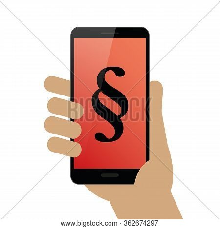 Humans Hand Hold Smartphone With Paragraph Symbol Vector Illustration Eps10