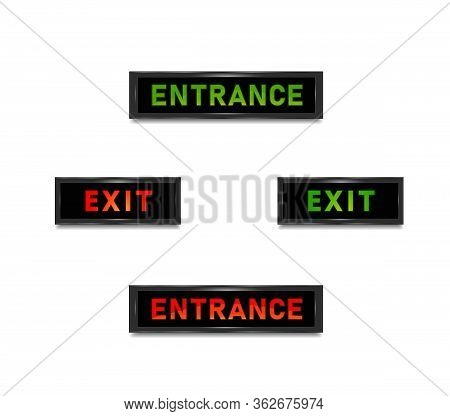 Exit Entrance Door Sign In Red And Green Light. Isolated Vector Graphic Illustration. Exit Entrance