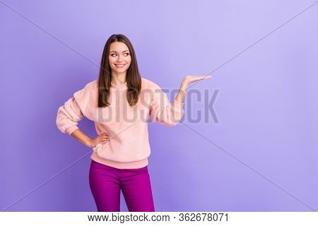 Photo Of Attractive Business Lady Manager Toothy Beaming Smiling Holding Novelty Product On Open Arm