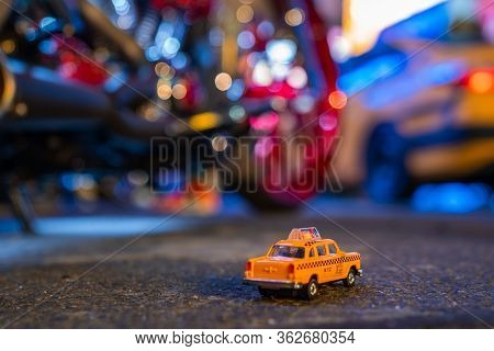 New York, Usa. March 10, 2019. Yellow Cabs In Manhattan, Nyc. The Taxicabs Of New York City At Night