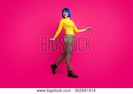 Full Body Profile Photo Of Cool Cheerful Lady Walk Down Street Traveler Wear Specs Yellow Turtleneck