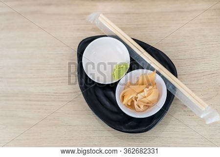 Ginger And Wasabi On Plate. Traditional Japanese Condiments - Wasabi, Ginger And Soy Sauce - A Set F