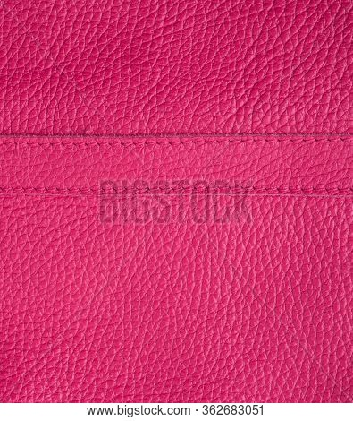 Natural Bright Pink Cowhide Texture, Full Frame, Scarlet Color, Close Up