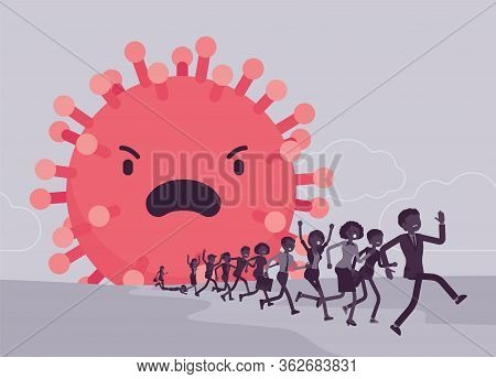People Terrorized By Dangerous Virus, Contagious, Deadly Horrible Epidemic Outbreak. Giant Infectiou