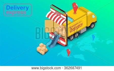 Delivery Express By Truck On Mobile With Gps With Gps. Online Food Order And Package In E-commerce B