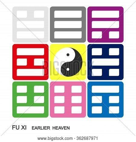 Vector Yin And Yang Symbol Chinese Feng Shui Bagua Quadrat. Fu Xi