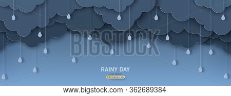 Overcast Sky With Rain Drops In Paper Cut Style. Vector Illustration. Rainy Day Concept With Dark Cl