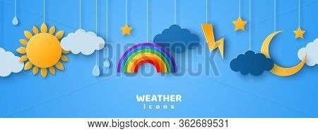 Set Of Cartoon Paper Cut Weather Icons On Blue Sky Background. Vector Illustration. Sun In Clouds, R