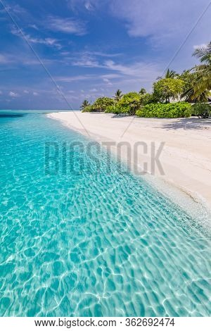 Beautiful Beach With Palm Trees And Moody Sky. Summer Vacation Travel Holiday Background Concept. Ma