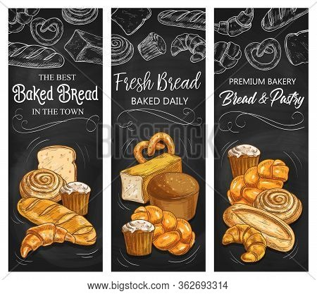 Bakery Bread, Vector Chalk Sketch Banners, Patisserie Buns And Pastry Products. Baker Shop Wheat And