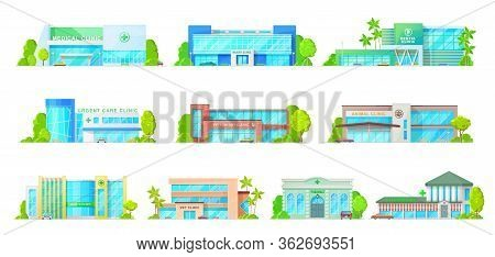 Pharmacy Buildings, Medical And Veterinary Clinics Isolated Vector Icons. Cartoon Modern Hospitals,
