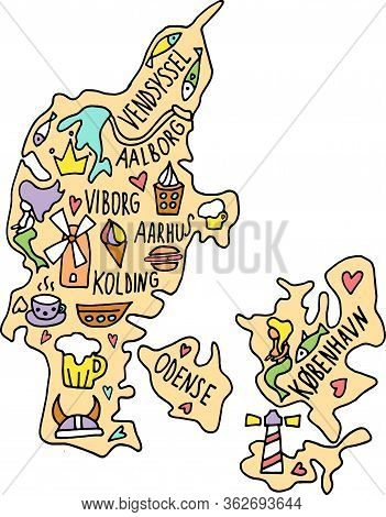 Colored Hand Drawn Doodle Denmark Map. Danish City Names Lettering And Cartoon Landmarks, Tourist At