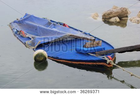 Rainy Day With Sunken Boat