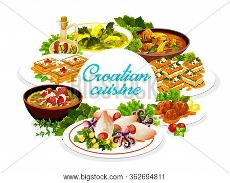Croatian Cuisine Food, Restaurant Menu Cover, Vector Poster. Authentic Croatian National Cuisine Lam