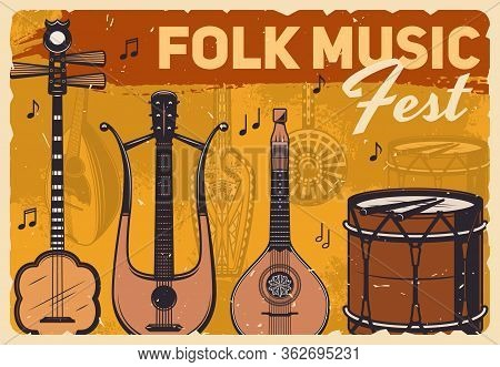 Folk Music Fest, Vector Retro Vintage Poster With Musical Instruments. Live Folk Concert With Percus