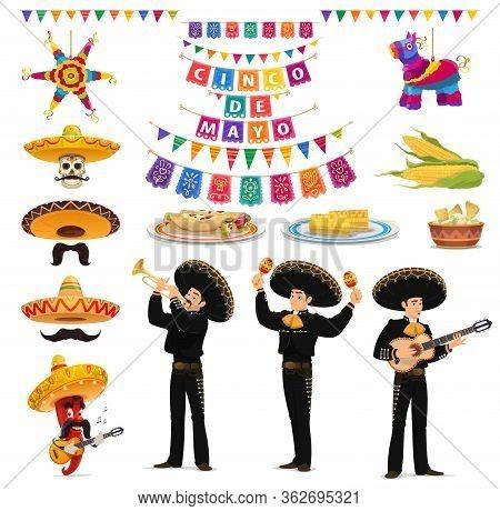 Cinco De Mayo Fiesta Vector Food, Musician, Sombreros, Pinatas, Guacamole And Enchiladas. Mexican Ho