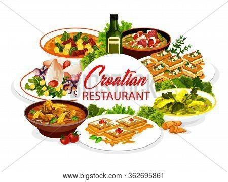 Croatian Cuisine Restaurant Food National Dishes, Vector Menu Cover. Croatia Authentic Meals, Zagors