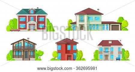 Houses And Residential Buildings, Villas And Mansions, Real Estate Vector Icons. Family House, Duple