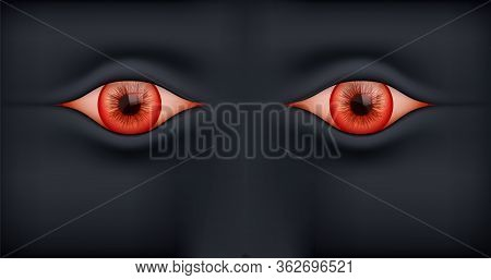 Black Background With Human Red Eyes. Vector Illustration