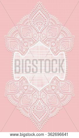 Vertical Lace Doily. White Lacy Napkin On A Pink Background. Openwork Oval Frame.