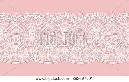 Abstract White Lace Texture Pattern On Pink Background For Textile. Horizontal Seamless Ribbon. Croc