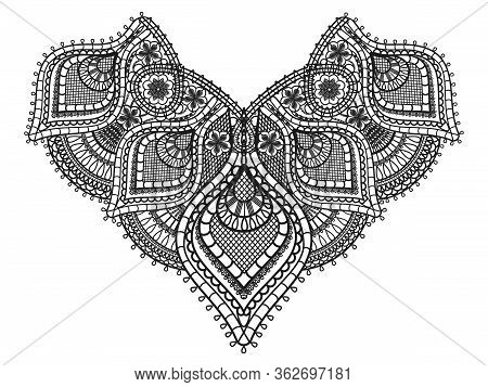 Corner Black Lace Design. Old Lace Paisley Ornament With Flowers Isolated On White Background. Flora