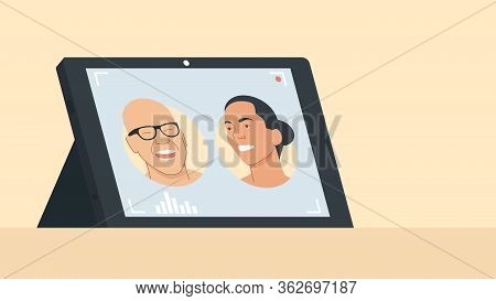 Vector Illustration Of A Tablet With Running Video Conferencing Program With Portraits Of Two Person