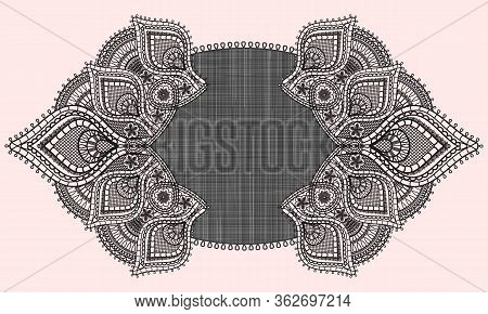Oval Doily Black Lace Design. Fabric And Old Lace Paisley Ornament With Flowers Isolated On Pink Bac
