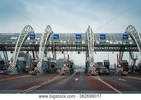 Russia Moscow 12.08.2019 M4 Highway Checkpoint. Barrier Planta Road