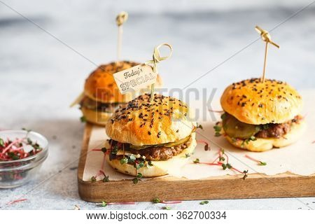 Homemade Mini Burgers With Bamboo Brochettes. Sandwiches With Meat Patties, Cheese, Pickles And Radi