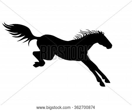 Horse. Vector Black Silhouette Of A Horse Landing After A Jump - A Sign For A Pictogram Or Logo. Jum