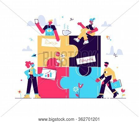 Business Concept. Team Metaphor. People Connecting Puzzle Elements. Vector Illustration Flat Design