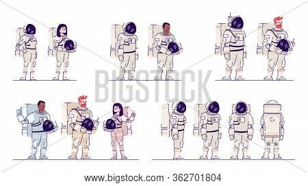Cosmonauts In Space Suits Flat Vector Illustrations Set. Multiracial Male And Female Astronauts Stan