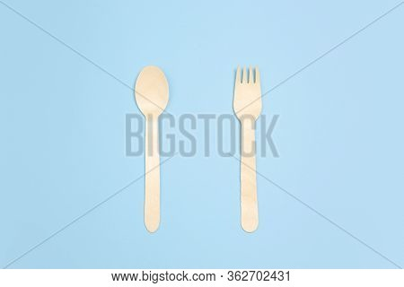 Fork And Spoon. Eco-friendly Life - Organic Made Recycle Things Replace Polymers, Plastics Analogues
