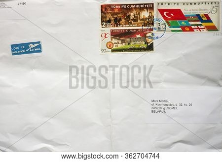 GOMEL, BELARUS - APRIL 20, 2020: Old envelope which was dispatched from Turkey to Gomel, Belarus, April 20, 2020.