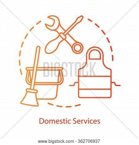 Domestic Services And Duties Concept Icon. Housekeeping, Cleaning, Cooking Idea Thin Line Illustrati