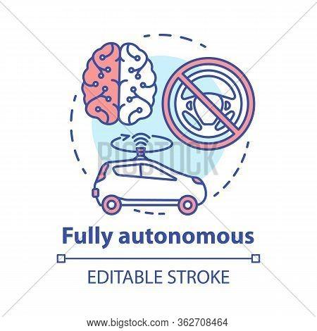 Fully Autonomous Concept Icon. Car Driven By Artificial Intelligence. Autopilot System. Robotic Vehi