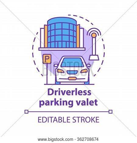 Driverless Parking Valet Concept Icon. Smart Parking Technology. City Car-park. Stand For Robotic Ve