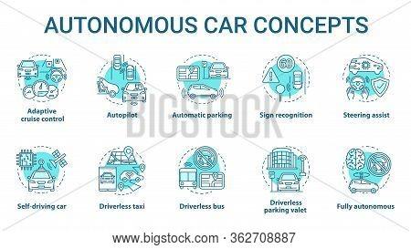 Autonomous Car Concept Icons Set. Car Robotic Features. Driverless Vehicles. Electronic Technology I