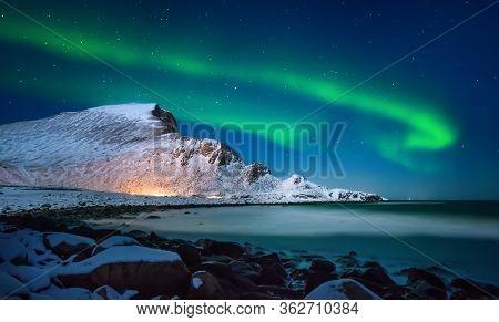 Aurora Borealis Above Nordlandsnupen Mountain, Lofoten Vaeroy, Norway