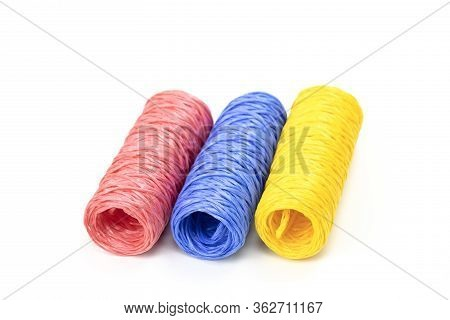 Hanks Of Colorful Twine - Pink, Blue And Yellow Close Up Isolated On White Background Concept Were D