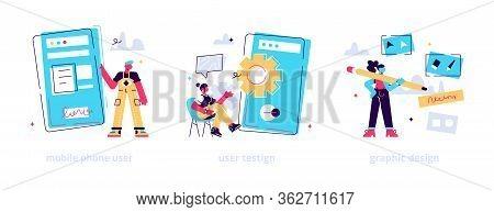 App Creation Steps Icons Set. User Interface Development, Bug Fixing, Public Release. Mobile Phone U