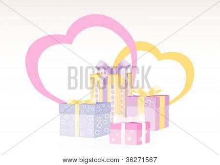 Gift boxes with two hearts on the background expressing love