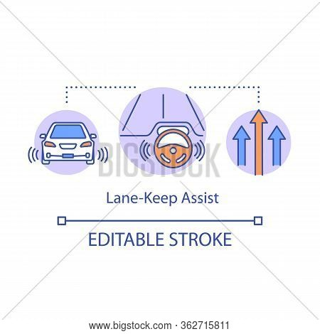 Lane-keep Assist Concept Icon. Remaining Vehicle In Their Lane. Driverless Car. Adaptive Cruise Cont