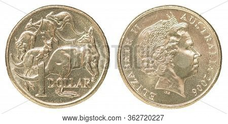 One Australian Dollar Coin With The Image Of Five Kangaroos Isolated On White Background