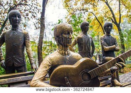 Almaty, Kazakhstan - September 09, 2019 - Bronze Group Sculpture Of The Beatles In Kok Tobe Park