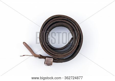 Shabby Worn Black Mens Leather Belt With A Metal Buckle On White Background